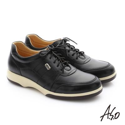 A.S.O 頂級氣墊增高寬楦 牛皮奈米綁帶休閒鞋 黑色