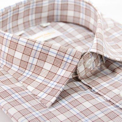 【金安德森】咖啡色藍色相間格紋短袖襯衫