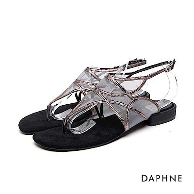 達芙妮DAPHNE 涼鞋-細帶拼接網紗低跟夾腳涼鞋-錫