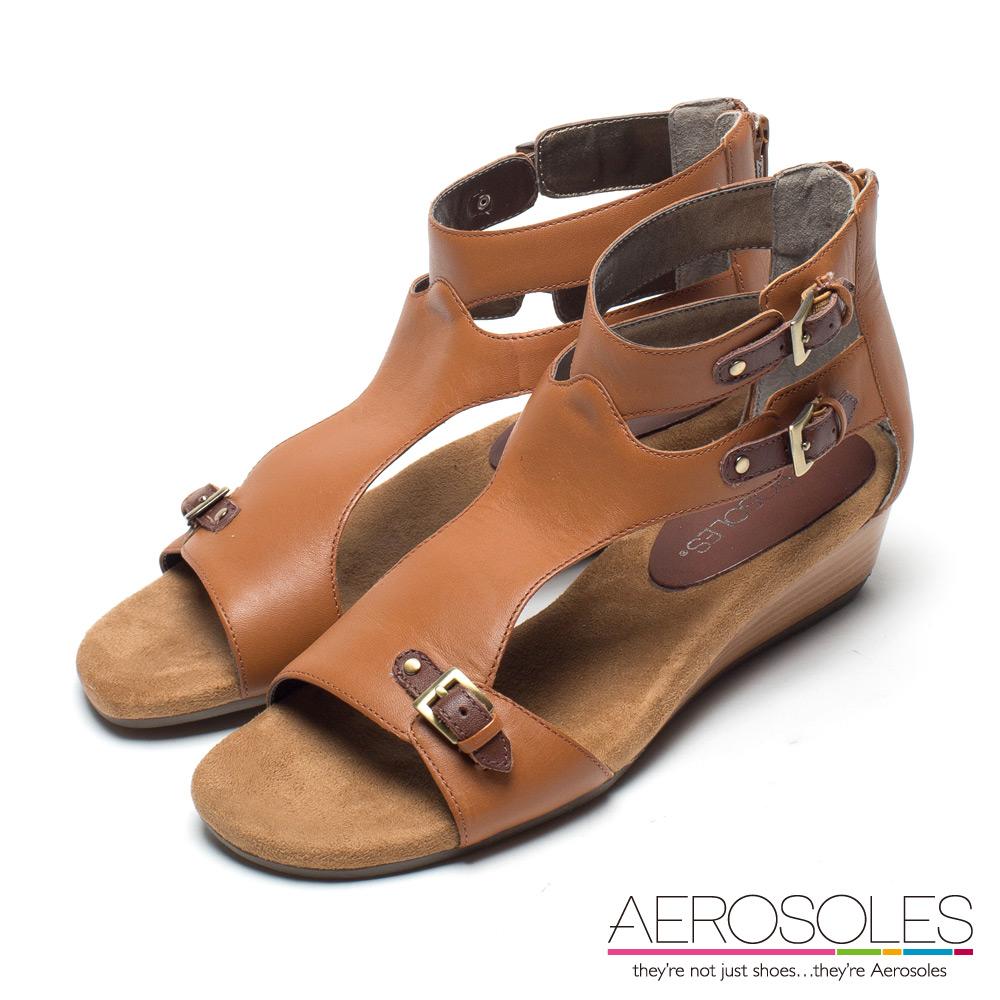AEROSOLES 羅馬戰士皮革繫踝小坡跟涼鞋~氣質棕