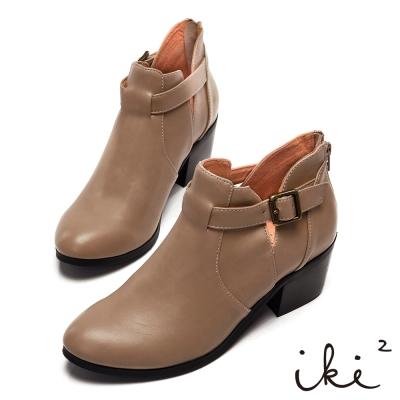 iki2法式優雅-鏤空拼接低跟短靴-卡其