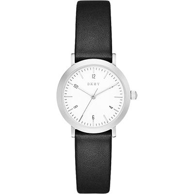 DKNY 紐約亮采時尚風女錶-銀x黑/27mm