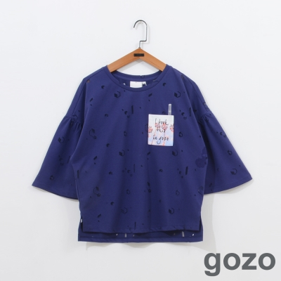 gozo迷幻春彩鏤空音符上衣二色