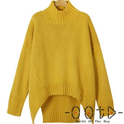高領不規則長袖針織毛衣 (共二色)-OOTD
