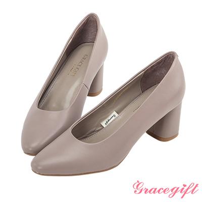 Grace gift-全真皮小方頭優雅素面跟鞋 灰