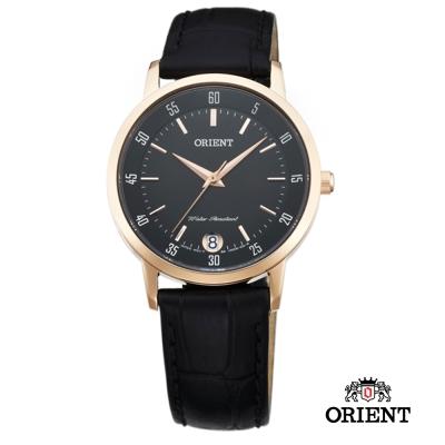ORIENT 東方錶 SLIM系列 藍寶石鏡面皮帶女錶-黑色/31mm