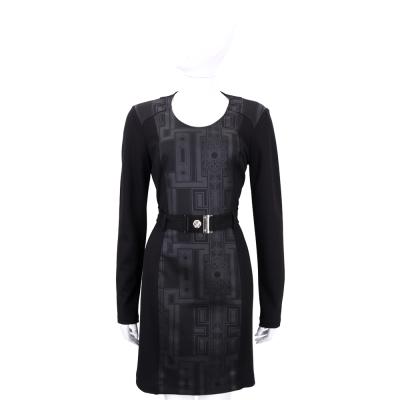 VERSACE 黑色圖騰拼接長袖洋裝(附腰帶)