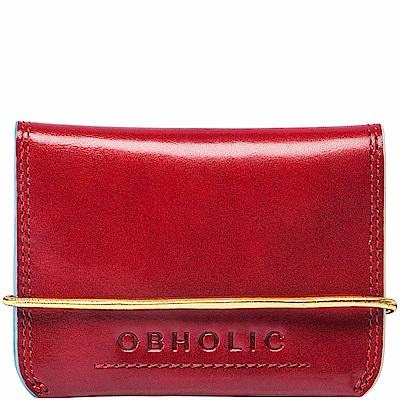 OBHOLIC 紅色牛皮信用卡套卡片夾