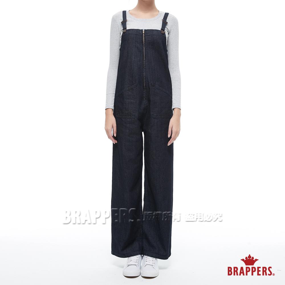 BRAPPERS 女款 Boy friend系列-拉鍊寬版吊帶長褲-藍