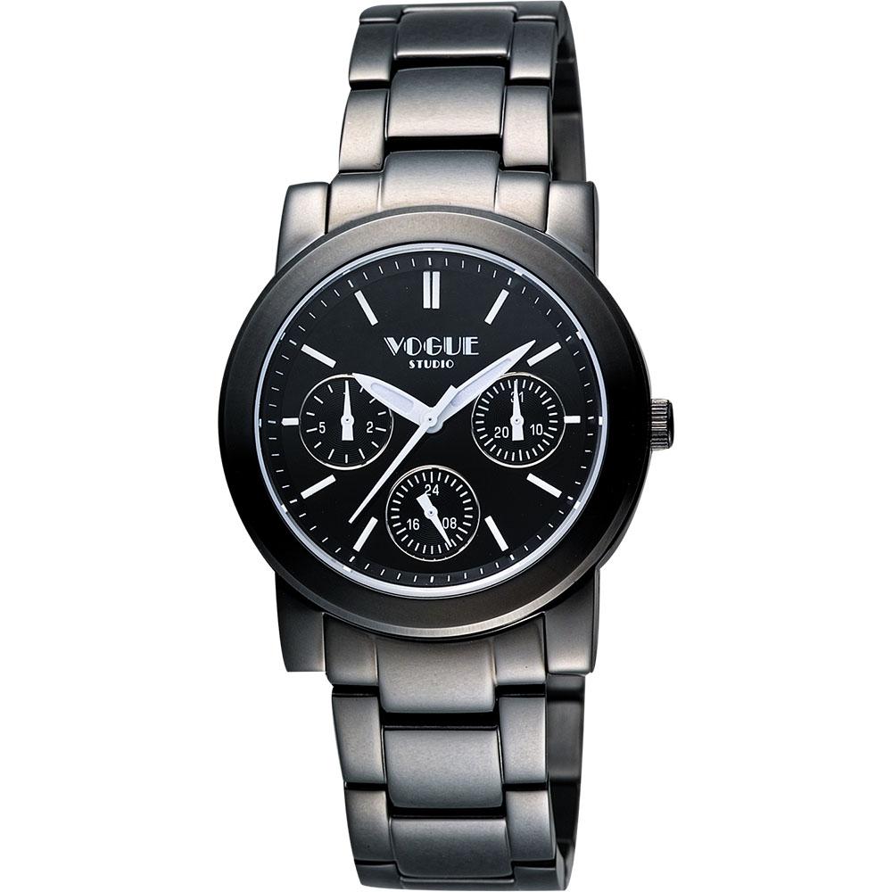 VOGUE 嶄新系列日曆時尚女錶-IP黑/34mm
