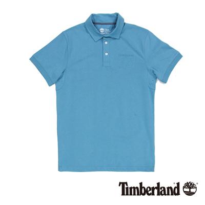 Timberland-男款天藍色立體浮雕字母短袖P