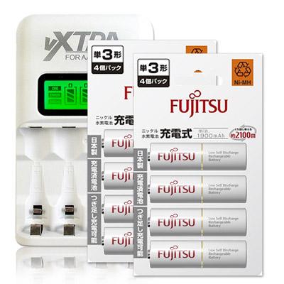 Fujitsu 1900mAh低自放3號充電電池(8顆入)+VXTRA LCD 充電器