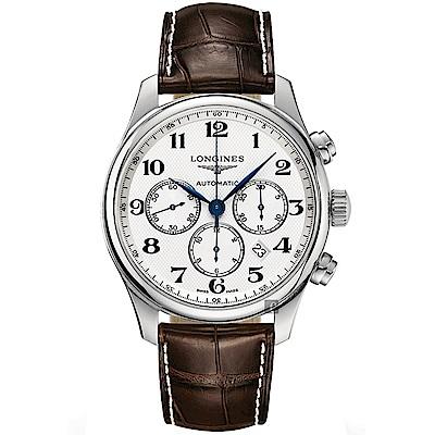 LONGINES浪琴 Master 巨擘計時機械錶-銀x咖啡/44mm
