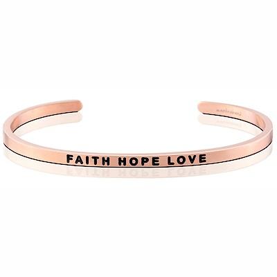 MANTRABAND 美國悄悄話手環 Faith Hope Love 信念希望愛 玫瑰金