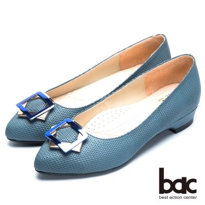 bac粉領時尚 星型金屬裝飾尖頭低跟鞋-藍