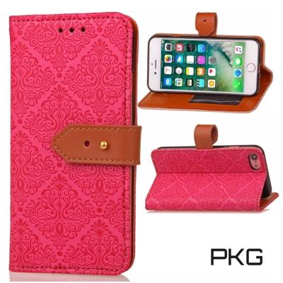PKG  IPHONE7 Plus (5.5吋)精緻皮套-側翻皮扣式-玫瑰紅