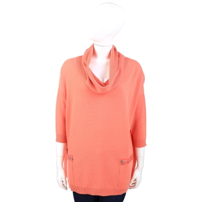 camilla clodel 100%CASHMERE垂領拉鍊口袋設計毛衣(橘色)