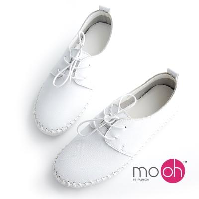 mo.oh 全真皮-素面牛皮編織綁帶休閒鞋小白鞋