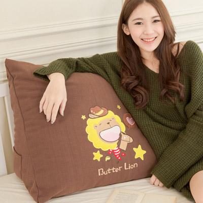 【奶油獅】正版授權-100%台灣製造 加厚貼布鏽 星星牛仔布套可拆三角靠墊/美腿枕(一入)