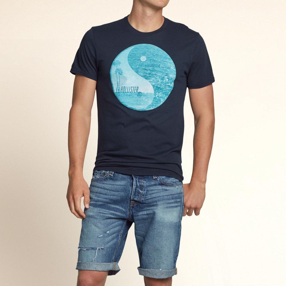 HOLLISTER Co. 男裝 圓景海灘短T恤(深藍)