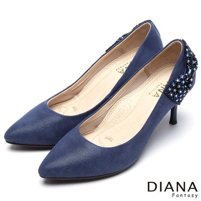 DIANA-風華迷人-水鑽立體蝴蝶結真皮跟鞋-藍