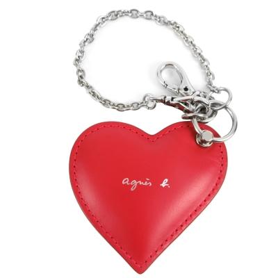 agnes b.雙心皮革鏡子吊飾(黑紅)