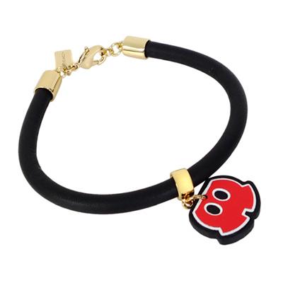 COACHXDISNEY聯名款黑色全皮MICKEY紅褲手環/手鍊