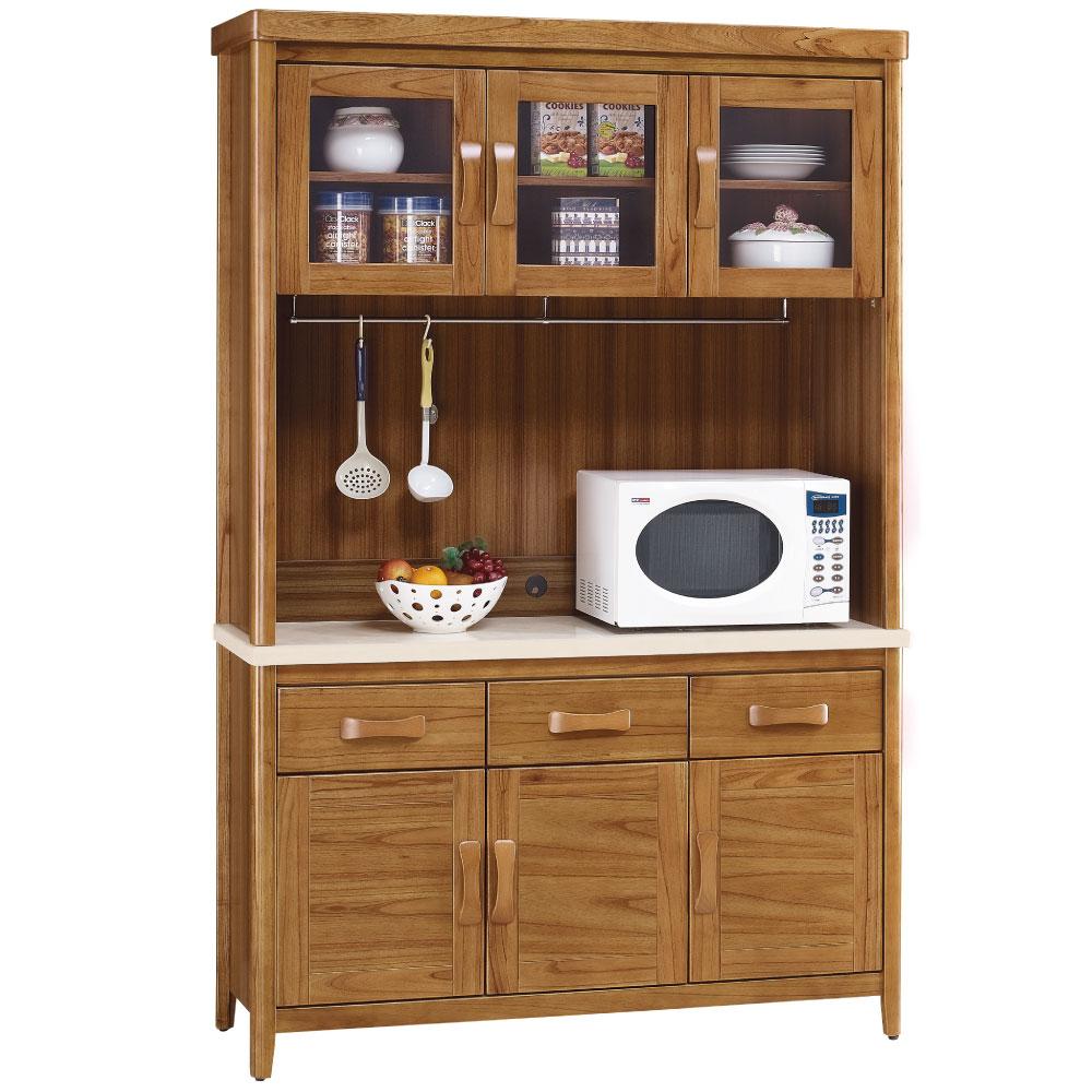 品家居 克莉絲蒂4.3尺柚木石面碗盤收納餐櫃組合(上+下座)