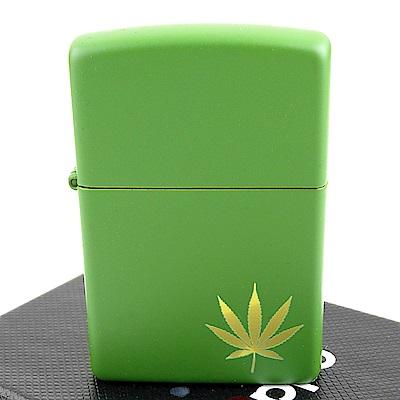ZIPPO 美系~Marijuana Leaf-大麻葉圖案綠色烤漆打火機