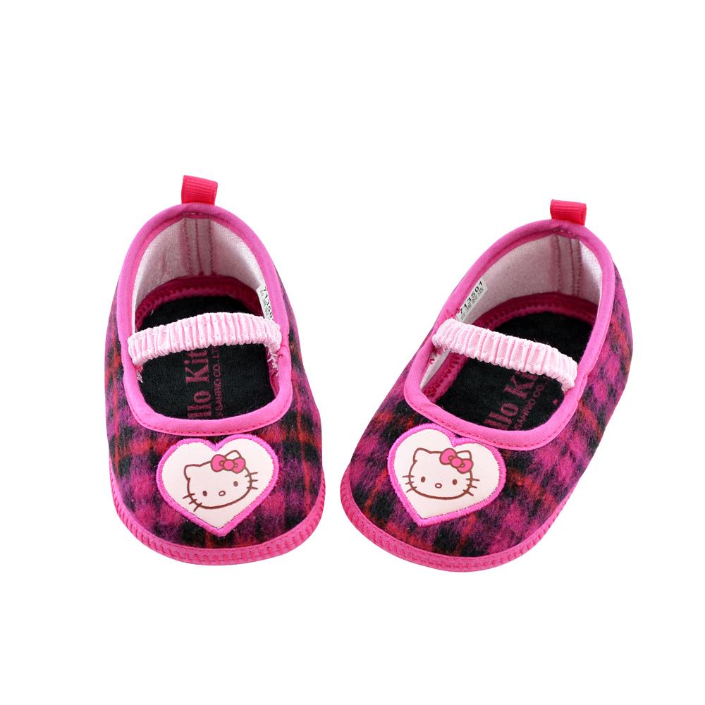 Hello Kitty 舒適輕量溫暖毛格寶寶鞋-桃(11.0-13.0)