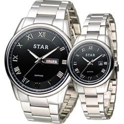 STAR 時代 永恆諾言時尚對錶-黑/43mm+32mm