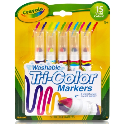 美國crayola 可水洗系列-可水洗5支三色頭新奇色筆(3Y+)
