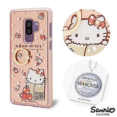 三麗鷗 Kitty Samsung Galaxy S9+施華彩鑽鏡面指環扣手機殼...