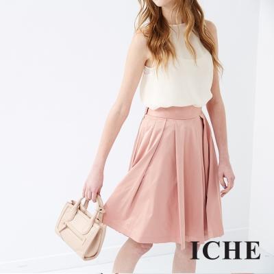 ICHE衣哲-百搭簡約打褶及膝粉圓裙