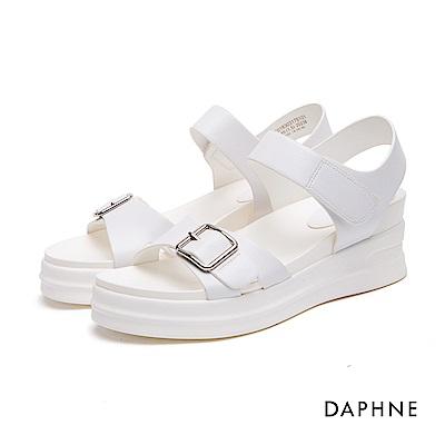 達芙妮DAPHNE 休閒鞋-皮帶扣魔鬼氈Y型繫帶休閒鞋-白