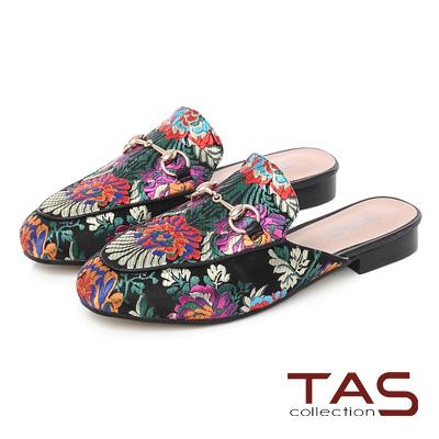 TAS 牡丹花刺繡金屬一字圓扣樂福穆勒鞋-華麗黑