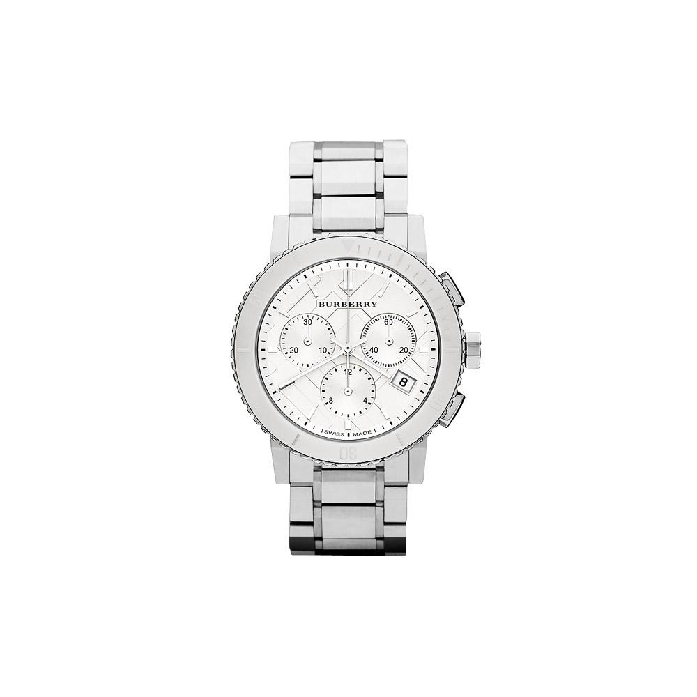 BURBERRY 英倫經典格紋計時腕錶-銀/42mm