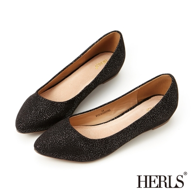 HERLS-內真皮絨布星彩內增高楔型鞋-黑色