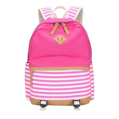 lerper雙肩橫條紋帆布後背包 粉紅色