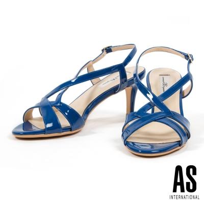 涼鞋-AS-時尚耀眼繫帶牛軟漆皮高跟涼鞋-藍