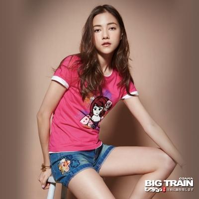 BIG TRAIN 和風牛仔短褲-女-中藍