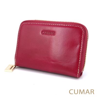 CUMAR-油蠟牛皮卡片零錢包-桃紅色