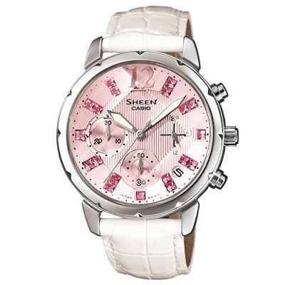 SHEEN 甜蜜粉紅鑽石切刻鏡面計時腕錶(SHN-5010L-4A2)-粉/37mm