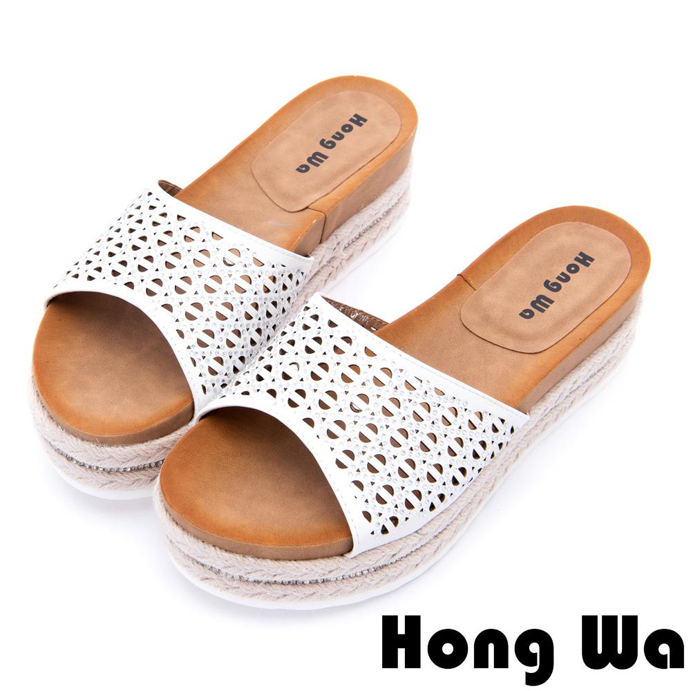 Hong Wa 夏日清涼水鑽沖孔厚底拖鞋-白