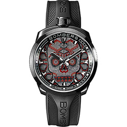 BOMBERG 炸彈錶 BOLT-68 Skull Pearl 珍珠骷顱手錶-紅x黑