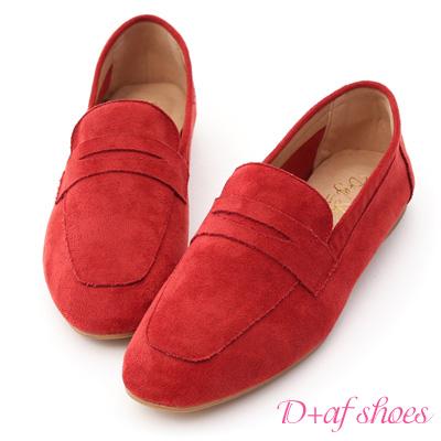 D+AF 自在印象.經典款絨料平底樂福鞋*紅