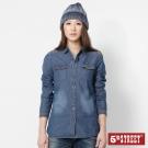 5th STREET 十字袖長袖牛仔襯衫-女-中古藍