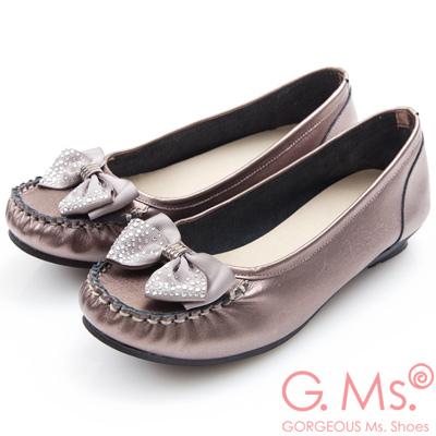 G.Ms. MIT系列-燙鑽蝴蝶結莫卡辛低跟鞋-銀色