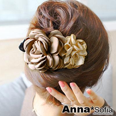 AnnaSofia 韓國雙色華花 純手工大型髮夾(香檳咖系)
