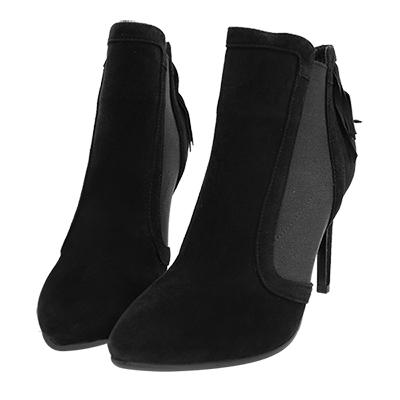 Robinlo Studio 歐美時尚流蘇麂皮高跟踝靴 黑